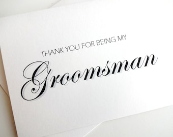 Groomsman Card - Groomsman Wedding Card - Thank You Groomsman Card