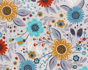 Michael Miller - Woodland Daisy - Fog - DC7728 FOGX D - 100% cotton fabric - Fabric by the yard(s)