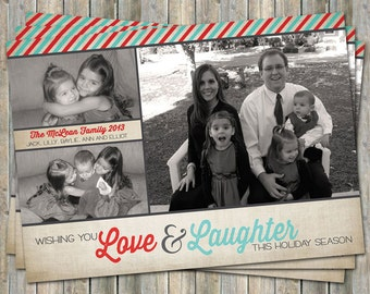 Holiday Card, christmas photo card, multiple photos, digital printable file