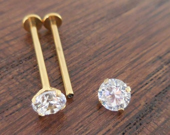 16G Pair 14mm,16mm or 19mm CHEEK Piercing Stud Jewelry Dimple Gold Tone Titanium Internally Threaded  Maker 5mm CZ Prong Set Stone