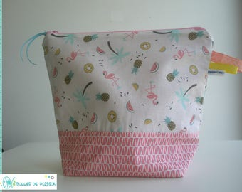 """toilet bag, zippered pouch """"flamingos pink"""""""