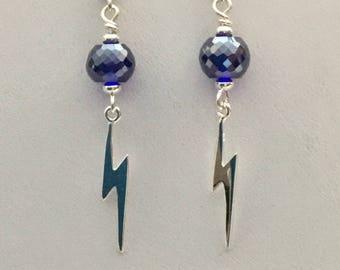 Silver lightening bolt dangle earrings