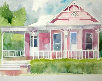Watercolor of the Pink House on Broadway