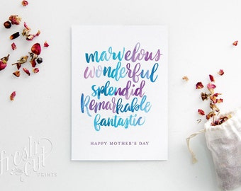 Happy Mother's Day - Mothers Day Card - Sentimental - Hand Lettered Card - Card for Mom - Greeting Card - Watercolor Lettering - Blue Purple