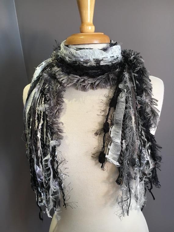 Fringie in Urban Gothic, black grey white scarf, handmade fringe scarf with faux fur, yarn scarf, Funky Scarf, ribbon fashion scarf, boho