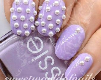 Nail Art White 2mm Pearls Studs Nail Decoration