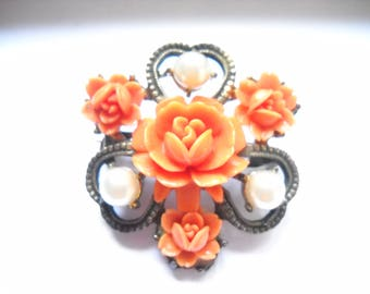 Brooch Victorian Revival Faux Coral Carved Roses Plastic Faux Pearls Clover Flower Metal Brooch Victorian Edwardian Revival