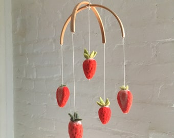 Baby Mobile. Strawberry Mobile. Hanging Mobile. Baby Shower Gift. Baby Crib Mobile. Felted Mobile. Nursery Decor. Strawberry.