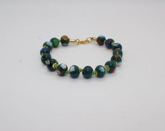 Italian Murano Mosaic Bracelet - Green