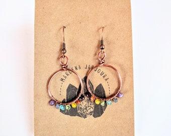 rainbow reset hoops, medium size, copper hoops, handmade jewelry, handmade earrings, hoop earrings, wholesale earrings, gemstone earrings