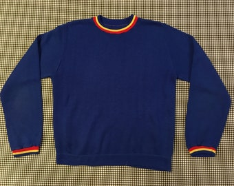 1970's, sweatshirt, in royal blue, with red and yellow trim, Men's size Small, Women's size Medium