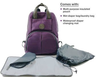 Ultimate Diaper Bag Backpack (Purple or Grey/Blue color), Perfect Baby Shower Gift
