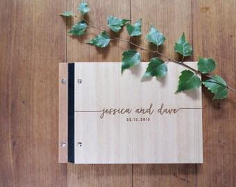 Wedding Guest Book, Handwritten Font, Engraved Wood, Modern Calligraphy, Wedding Shower Gift.