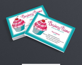Business Card Designs - Bakery Business Card Design -  Printable Business Card Design - Premade - Cupcake Delight 1