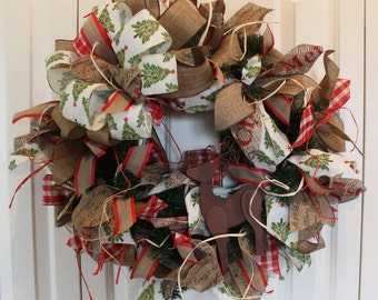Ready to Ship- Large Christmas Rustic Wreath.  Reindeer Wreath.  Rustic Christmas decor.  Burlap Christmas Wreath.  Rustic Christmas gift.