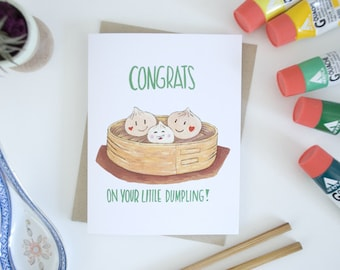 Dim Sum Newborn Dumpling Greeting Card, Gifts for New Moms, Newborn Baby Cards, Funny Food Puns, Asian Baby Shower Cards, For Mums