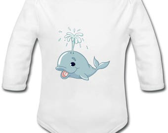 Whale - possibility of custom name onesie