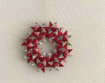 Moravian Star Wreath—Red & Floral