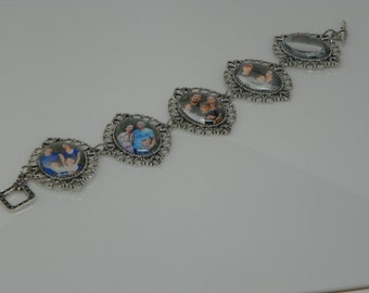 Family bracelt-picture bracelet-custom made bracelet-saints bracelet-mother's day present-filigree bracelet-