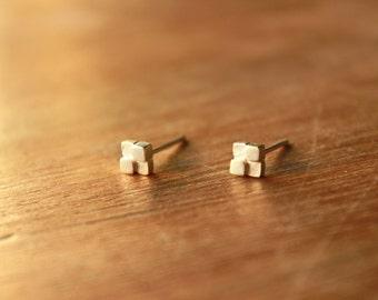 Tiny block Earrings-sterling silver