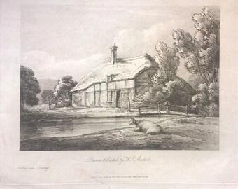 RARE Original 19th Century Antique Soft-ground Etching by W P Sherlock Dorking Cottage