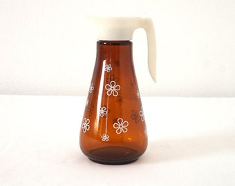 Vintage 70s Syrup Dripcut Pourer Amber Glass White Daisies