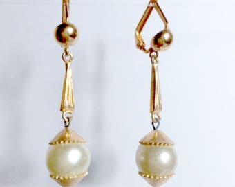 Earrings vintage gold plated and Pearl whims
