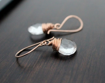Crystal Quartz  Earrings in Rose Gold filled , Wire Wrapped Crystals , April Birthstone Substitute , Gemstone Drop Dangle Earrings