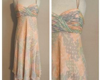 90s Lillie Rubin Silk Floral Full Length Summer Dress