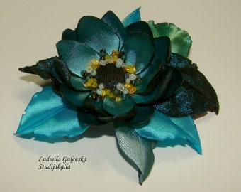 Handmade aeruginous satin flower brooch, flower pin, embroidered flower, blue flower