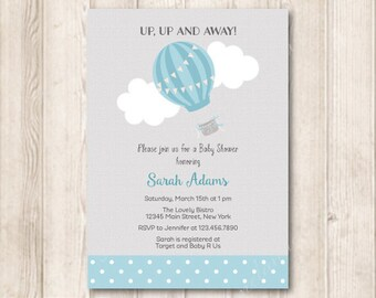 Baby Blue Hot Air Balloon Baby Shower Invitation, Pastel Blue, Baby Boy, Up Up and Away, Printable Invite, 5x7 JPG