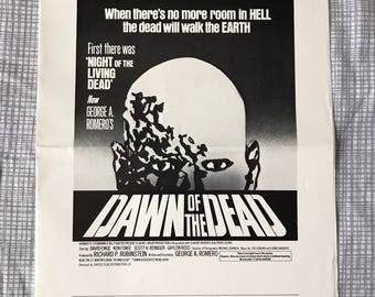 DAWN Of The DEAD Advertising Press Sheet George Romero Tom Savini RARE 1978 Promotional Item