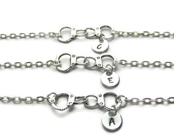 3 Personalized Partners In Crime Bracelets, 3 Best Friends Bracelets, Handcuff Bracelets, Initial Bracelets, Partners In Crime, Monogram