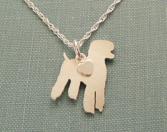 Standard Poodle Dog Necklace, Sterling Silver Personalize Pendant, Breed Silhouette Charm, Resue Shelter