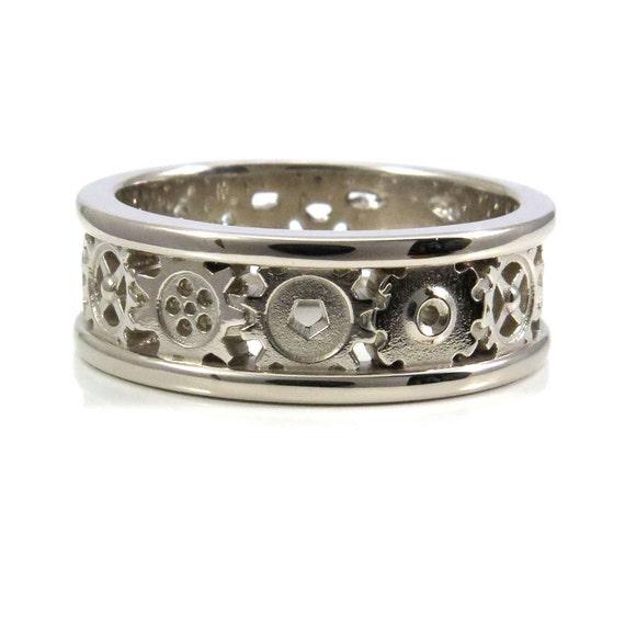 Steampunk Gold Gear Ring - Mens Palladium White Gold Wedding Band