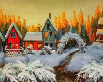 original painting, winter painting, red cottage winter landscape , snow painting, snowy village,  Christmas gift