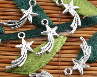 Shooting Star Charms Pendants Antiqued Silver Star Charms Wish Upon a Star Celestial Charms 10 pieces