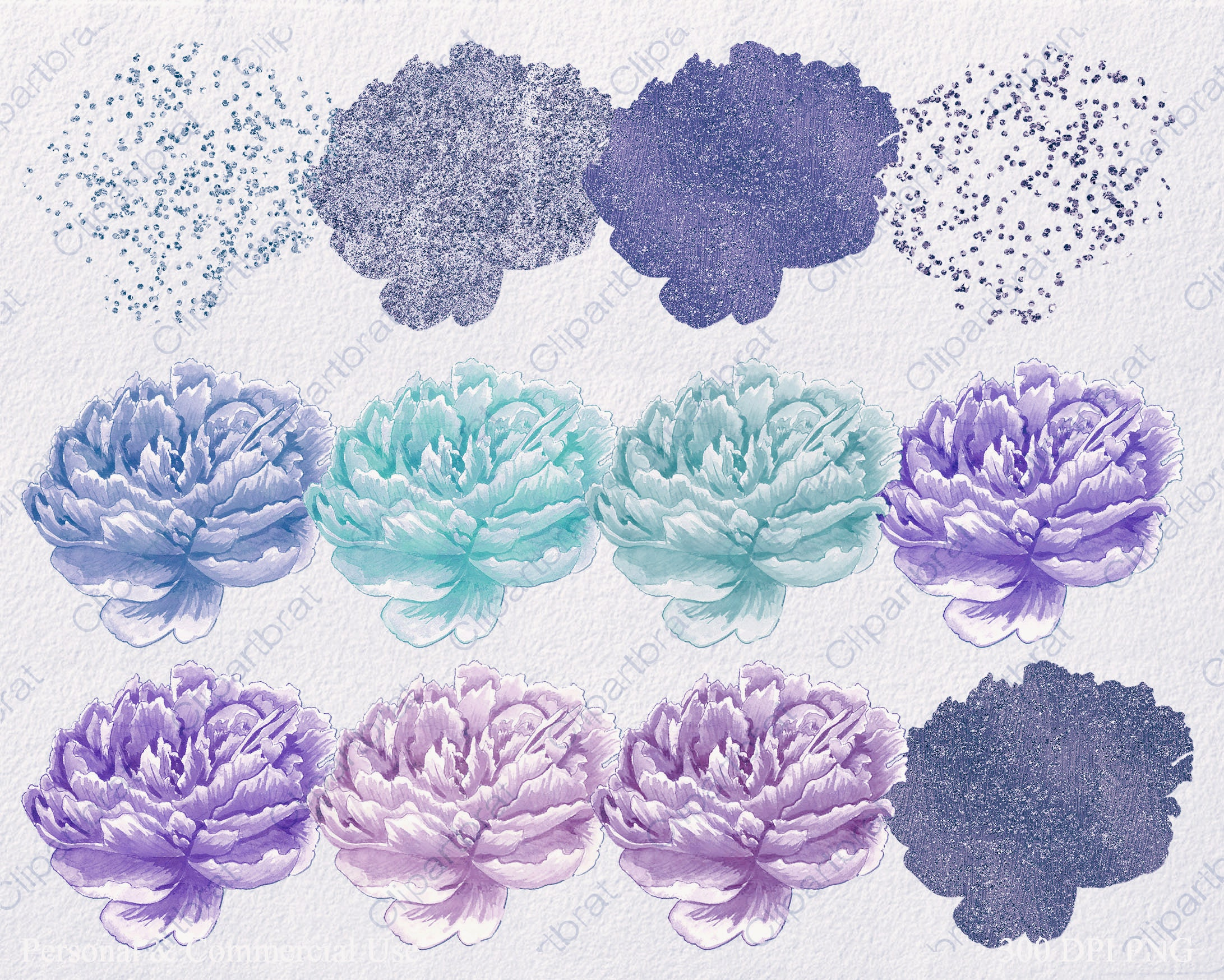 TEAL & PURPLE FLORAL Clipart Commercial Use Clip Art ...