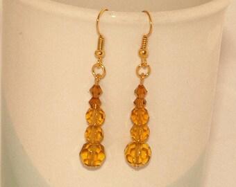 Amber Glass Earrings, Honey Yellow Beaded Earrings, Linear Earrings On Gold-Plated Ear-Wires