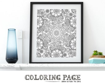 Floral Coloring Page Printable Floral Wall Art Adult Printable Coloring Book Adult AntiStress Art Therapy Instant Download Zen Printable Art