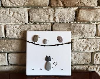 Pebble Art, Canvas Pebble Art, Pebble Picture, Pebble Art Animals, Pebble Gifts, Pebble Cat, Pebble Birds