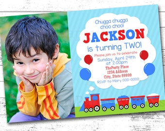 Train Birthday Invitation, 2nd Birthday Invitation, Printable Invitation, Digital Invitation, Boy Train Birthday Party, Blue, Red