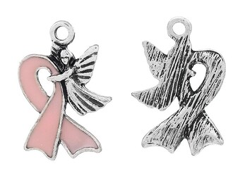 BULK 10 Breast Cancer Charms Pink Ribbon Awareness with Angel - E005