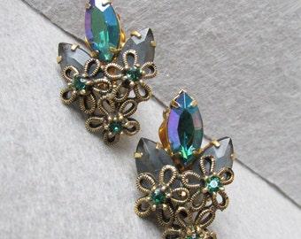 1950's Retro AB Emerald Green Marquise Rhinestone & Flower WIRE Vintage Earrings