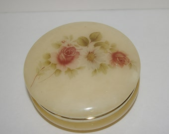 Trinket with Roses, Alabaster, Cream Color, Made in Italy  Vintage 1950's 1960's