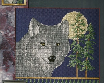Cross Stitch Patterns Leaflet,Moon Shadow,Wolf Cross Stitch,Wolf Cross Stitch Patterns,Vintage Wolf Cross Stitch,Cross Stitch Wolfs