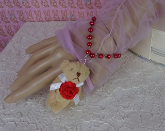 Classic Lolita Kawaii Love Rose Bear Red Pearl Bracelet