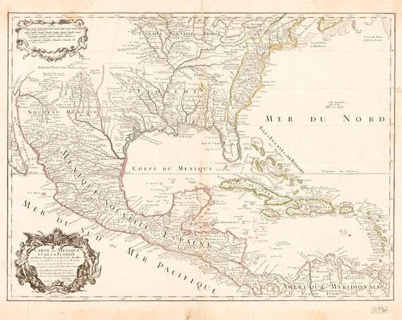 Alte Karte von Amerika Mexiko Kuba Golf von Mexiko antike