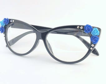 Embellished Retro Cat Eye Style Clear Glasses Black with Blue Rose Flowers and Rhinestone Crystals