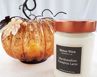 marshmallow pumpkin latte wood wick soy candle, 10oz.